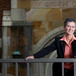 Dean Melanie D. Wilson on the patio of the College of Law.